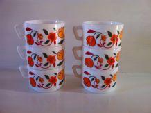 Lot de 6 tasses à café vintage Arcopal