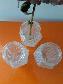 Lot 3 vases à jacinthe bulbe ART DECO verre blanc
