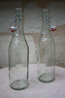 Lot de 2 bouteilles verre avec bouchons mécaniques