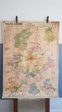 carte géographique scolaire plastifiée Haute-Vienne