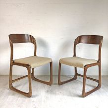 Ensemble de quatre chaises traineau BAUMANN vintage 60's