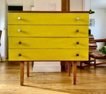 Commode vintage jaune années 50 / 60