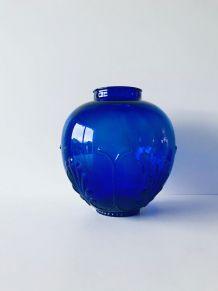 Vase rond bleu roi