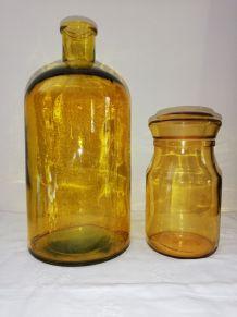 Duo bonbonne 2.5 litres et grand bocal jaune ambré