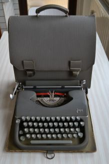 Machine a écrire portative Japy métal gris anthracite 1960s