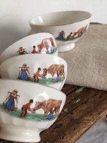 Quatre bols anciens Digoin - vache et jeunes paysans