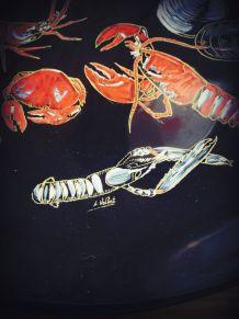 assiette décorative LONGWY crustacés estampillé L. VOLENTI