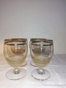 4 Anciens verres de bistrot (apéritif anisé)
