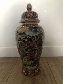 Grand vase Satsuma XXème signé