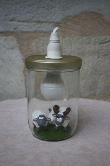 """Lampe de chevet récup' """"Bocal à moutons"""""""