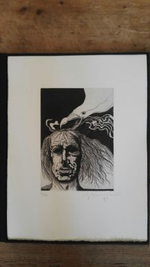 Gravure signée, numérotée, Giovanni Giannini pour Edgar Poe