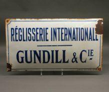 plaque émaillée ancienne Réglisserie internationale Gundill