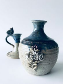 Duo de bougeoir et vase signé Catido