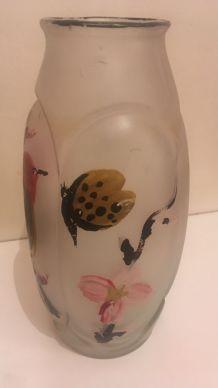Vase ancien verre dépoli
