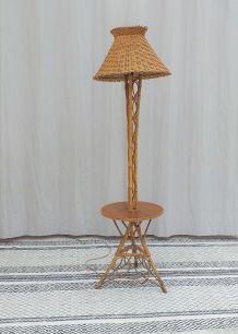 Lampadaire rotin vintage années 70