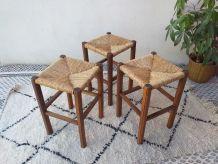 3 tabourets vintage rustique artisanal années 70