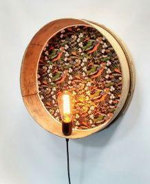 """Lampe murale, applique vintage - """"Tamis Fleurs du Japon"""""""