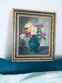 Peinture ancienne, bouquet de fleurs