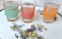 Lot de verres granités colorés