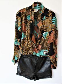 Veste chemise vintage 90  loose overside  L Mixte noir coton