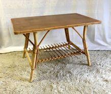 Table basse en rotin - années 70