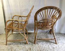Paire de fauteuils en rotin - années 70