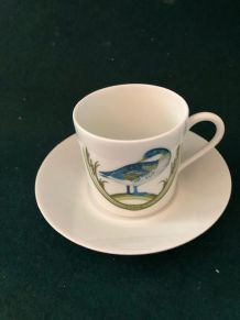 Ensemble 4 tasses et soucoupes à café Porcelaine d'Auteuil,