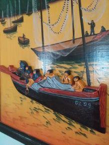 Tableau en bois relief bateau et pêcheurs sardines d'argent