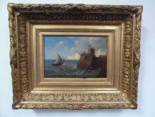 Huile sur bois représentant une marine, 22,5 x 15 cm