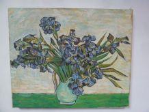 Reproduction des Iris, Van Gogh, huile sur toile 30 x 40 cm