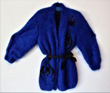 Gilet mohair vintage 80 manteau laine mohair bleu roi  loose