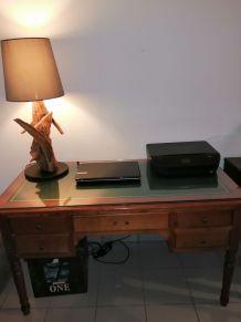 Très beau bureau merisier dessus cuir