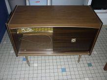 Meuble bar TV vintage a roulettes