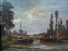 Huile sur bois 42 x 38 cm, bateaux amarrés bord de rivière