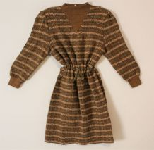 Robe pull laine vintage 80 tricot maille neuve