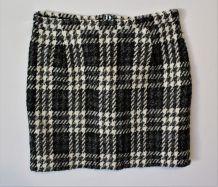 Jupe tweed laine 40 fait main Handmade à carreaux noir gris