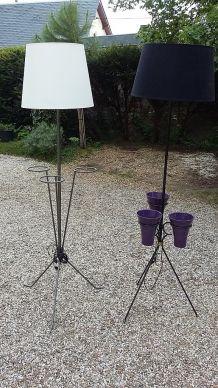 Paire lampadaire avec jardinière
