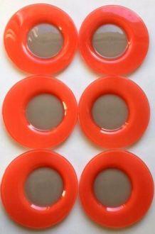 6 assiettes vintage style Duralex orange