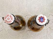 2 bouteilles Brasserie verre ambré