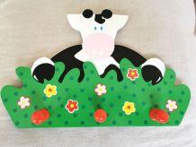 Porte manteau en bois motif vache