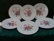 6 assiettes plates Luneville