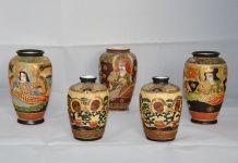 2 paires de petits vases Satsuma 9 et 12 cm + 1 de 12 cm