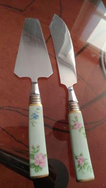 ensemble plat à cake +couteau+pelle années 50