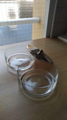 Ensemble  2 récipients verre  + couvercle métal argenté