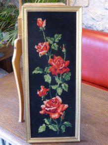 Deux Canevas le Bouquet de roses rouges et la colombe 1960's