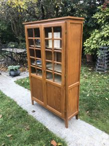 Armoire vitrine bibliothèque vintage en chêne blond