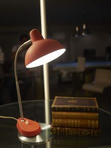 Lampe années 50 métal granité orange et chrome