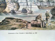 Lithographie marine-Armement d'un corsaire à St malo en 1785