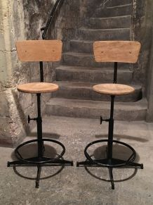 Lot 2 chaises d'atelier en métal et bois Industriel Vintage