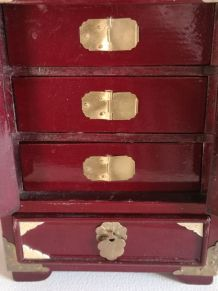 armoir a bijoux en bois laqué et nacre